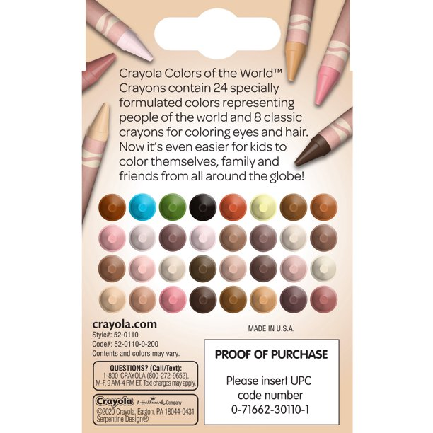 Shades of skin color depicted on the back of the crayola crayon box as well as showing the hair and eye color crayons.