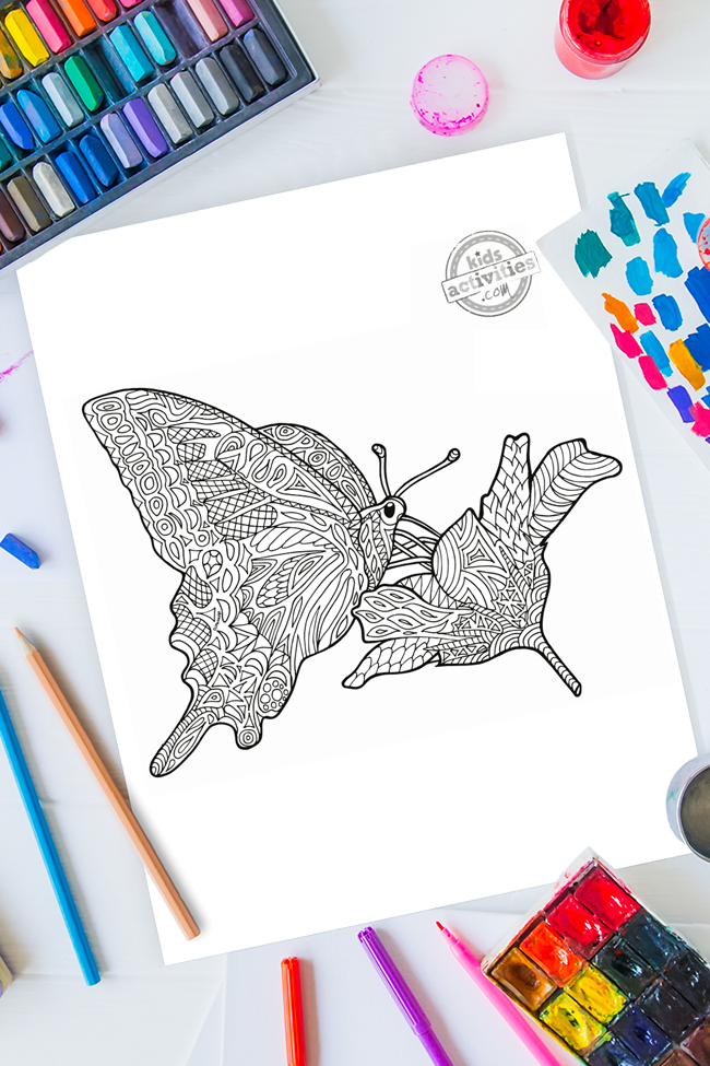 Zentangle Flower & Butterfly Design Printable Coloring Page