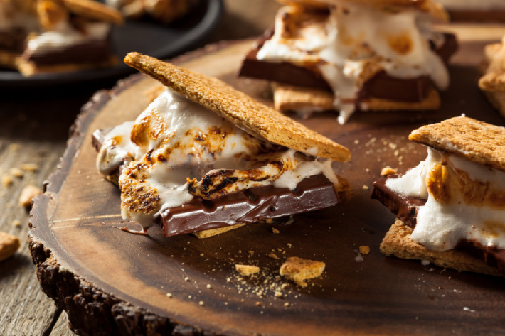 Campfire dessert recipes - s'mores ideas - KIds Activities Blog - gooey s'mores next to a campfire on a wood stump