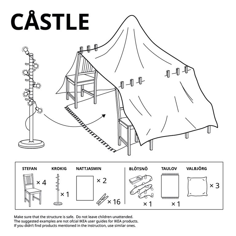 blanket fort instructions using chairs, clothespins and a coat rack from ikea
