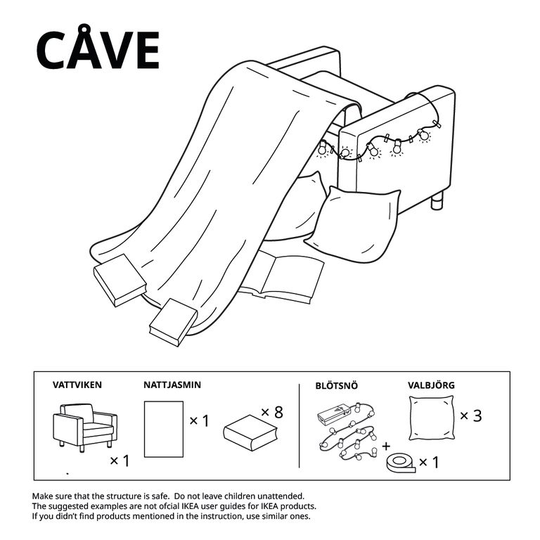 blanket fort instructions from ikea using an arm chair, blanket, pillows, and books