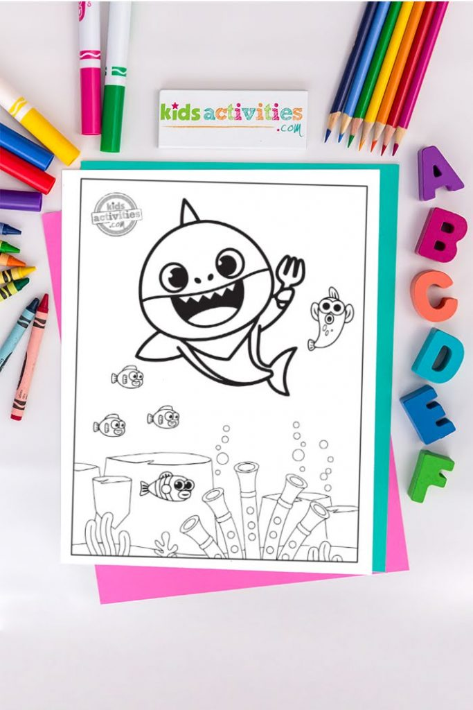 dancing baby shark singing with fish coloring sheet