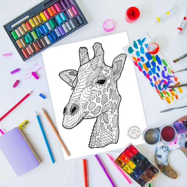 intricate giraffe zentangle pattern art ready to be colored with mixed art supplies and bright colors