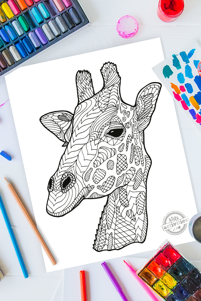 Tranquil Giraffe Zentangle Coloring Page
