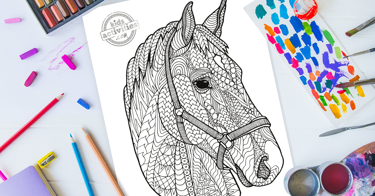 Harmonious Zentangle Horse Coloring Page