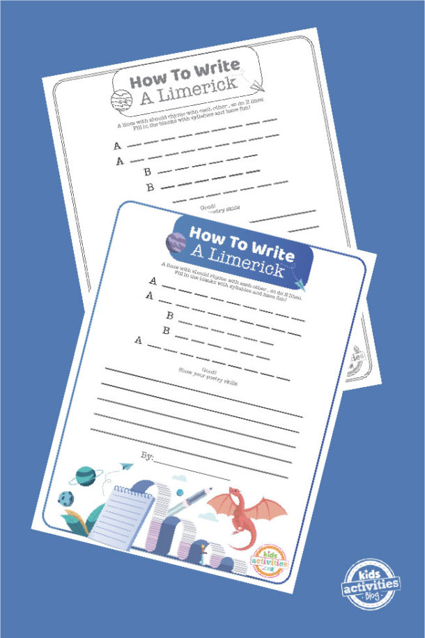 full color and black and white limerick writing worksheets