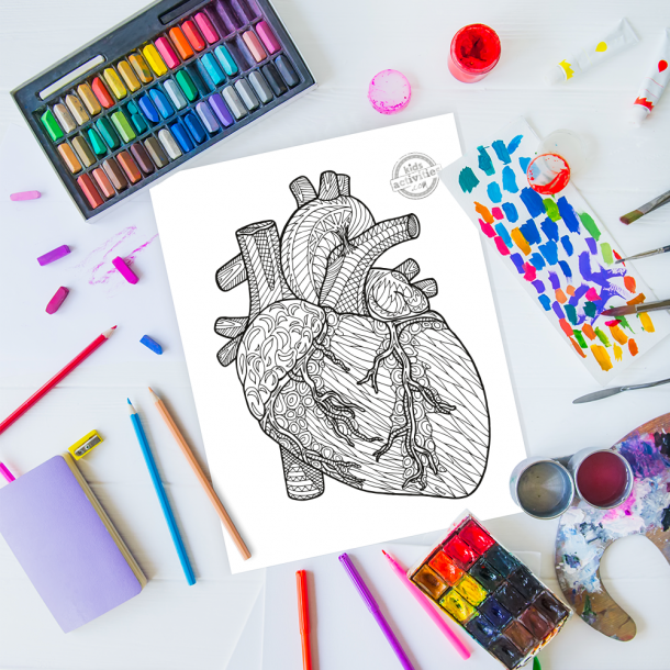 intricate human heart zentangle pattern art ready to be colored with mixed art supplies and bright colors