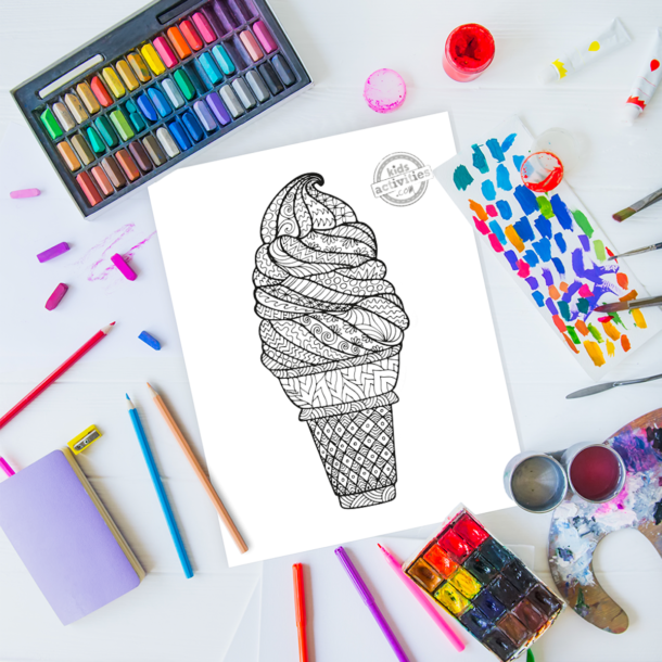 intricate ice cream cone zentangle pattern art ready to be colored with mixed art supplies and bright colors