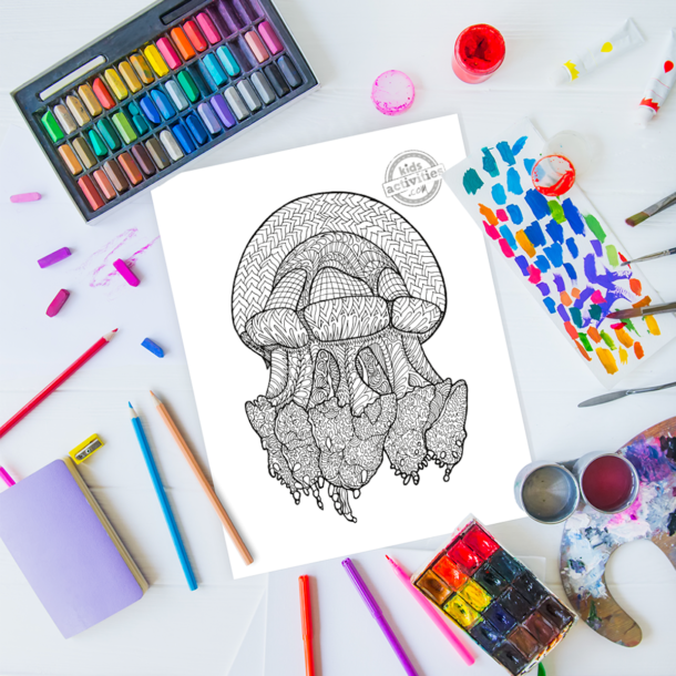 intricate jellyfish zentangle pattern art ready to be colored with mixed art supplies and bright colors