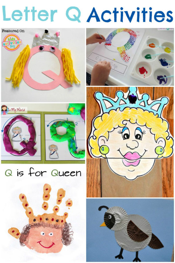 Words that start with Q - alphabet activities to learn the letter q - queen and quail are pictured