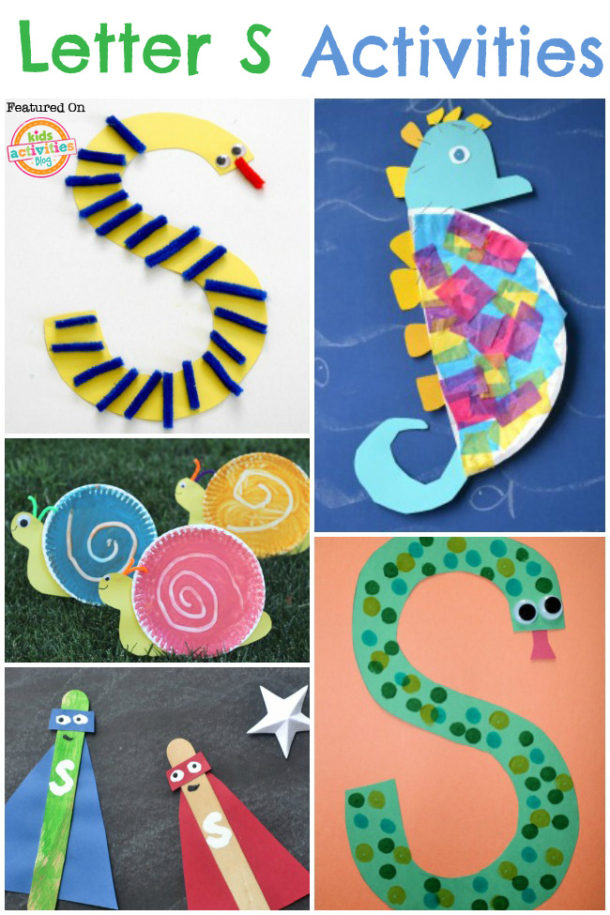 letter s activities - ways to learn the letter s through play - snake, seahorse and super hero crafts pictured