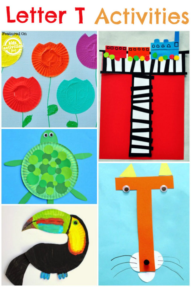 Words that start with the letter T - letter t activities for kindergarten and preschool - tiger, turtle and tulip are pictured