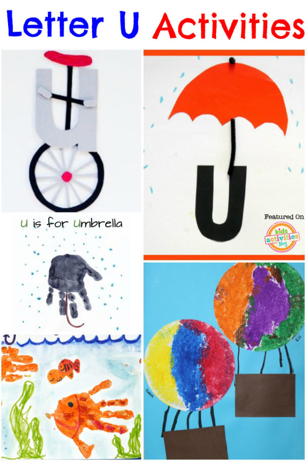 letter u activities for kindergarten and preschool - unicycle, umbrella and up are pictured