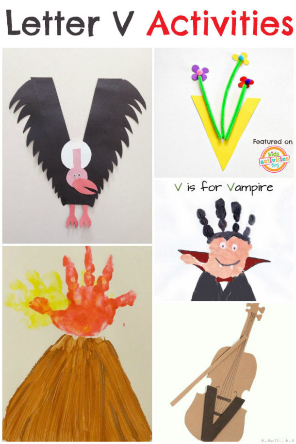 Letter V Activities for preschool and kindergarten - violin, vase, volcano and vulture are pictured