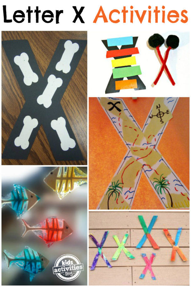 Words that start with the letter X - letter x activities preschool kindergarten - x-ray and xylophone are pictured