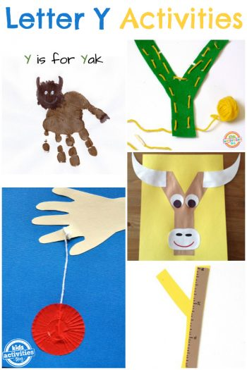 Letter Y activities for kids learning the alphabet - Kids activities Blog - shown yak yoyo and yarn