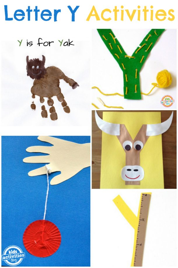 Letter Y Crafts - letter Y activities kindergarten preschool - yak, yarn and yo yo are pictured