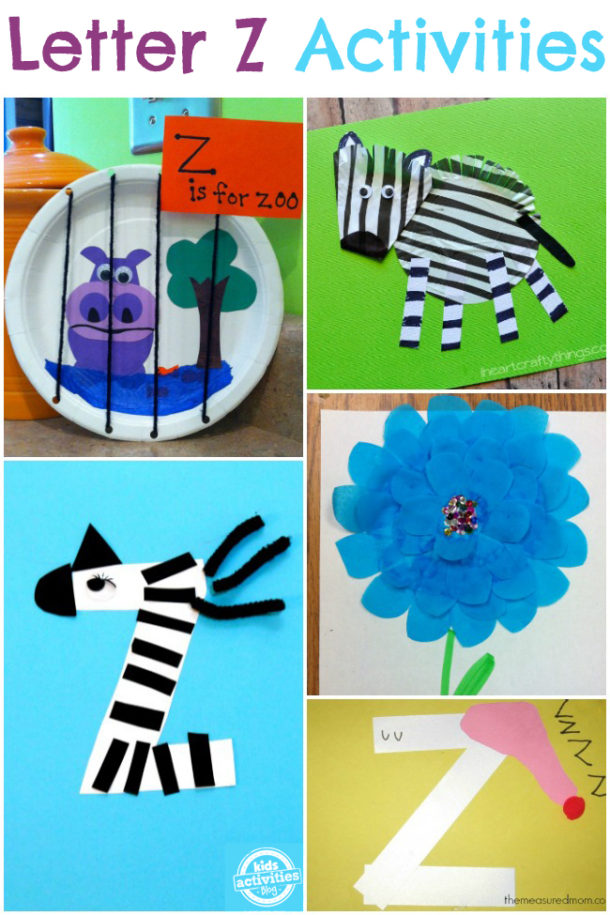 Words that start with the letter Z - letter z activities for kindergarten and preschool - zoo, zebra and zinnia are pictured