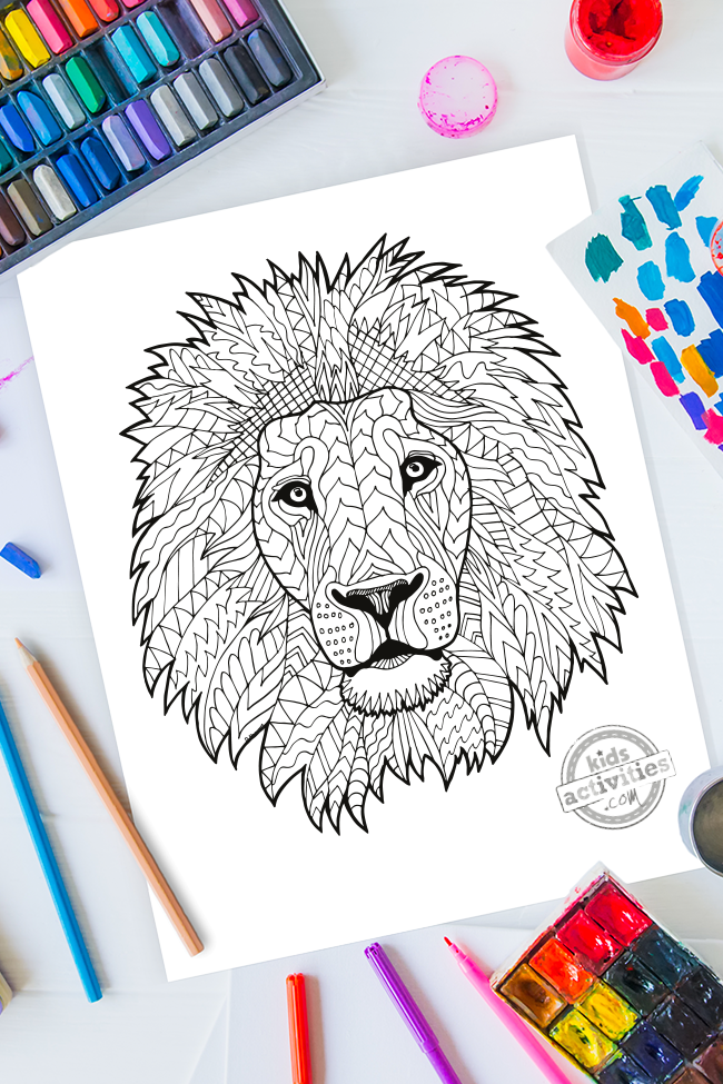 Zentangle Lion Pattern Printable Coloring Page