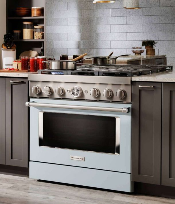 Misty blue kitchenaid range
