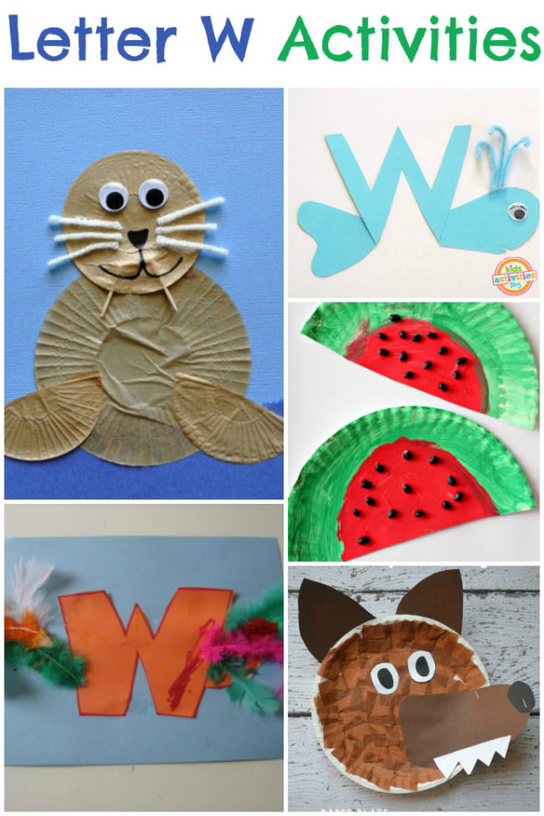 Letter W Activities for kindergarten and preschool - whale, watermelon, wolf pictured