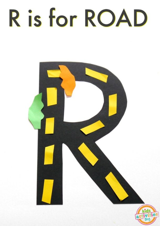 R is for road - kindergarten preschool letter r craft - craft paper road with cars