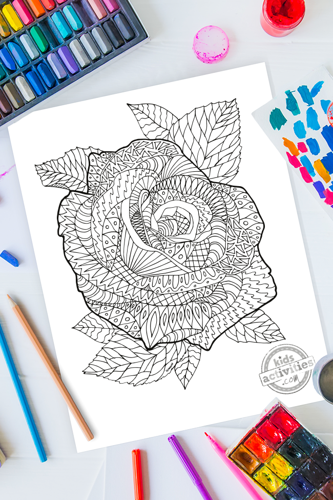 Zentangle Flower Pattern: Rose Printable Coloring Page