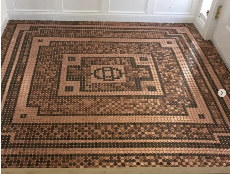 This Woman Used 7,500 Pennies To Decorate Her Floor and I Love It