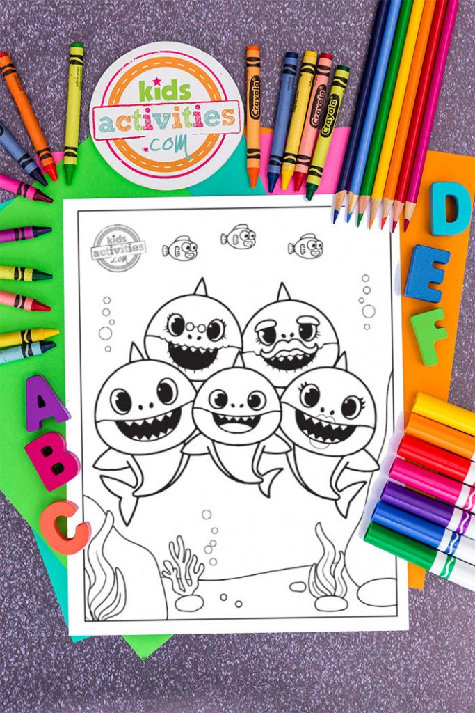 baby shark characters singing together on coloring sheet that kids can decorate
