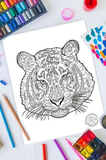 intricate tiger zentangle pattern art ready to be colored with mixed art supplies and bright colors
