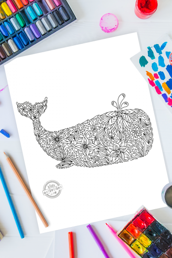 intricate whale zentangle pattern art ready to be colored with mixed art supplies and bright colors