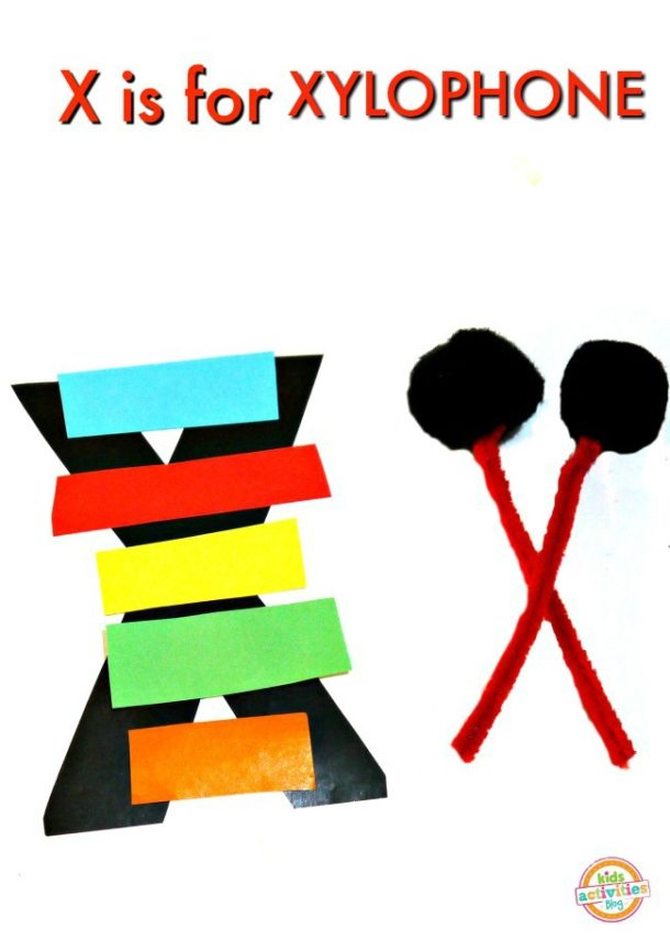 X is for Xylophone - letter x craft for preschool kindergarten - craft paper xylophone with pipe cleaner mallets