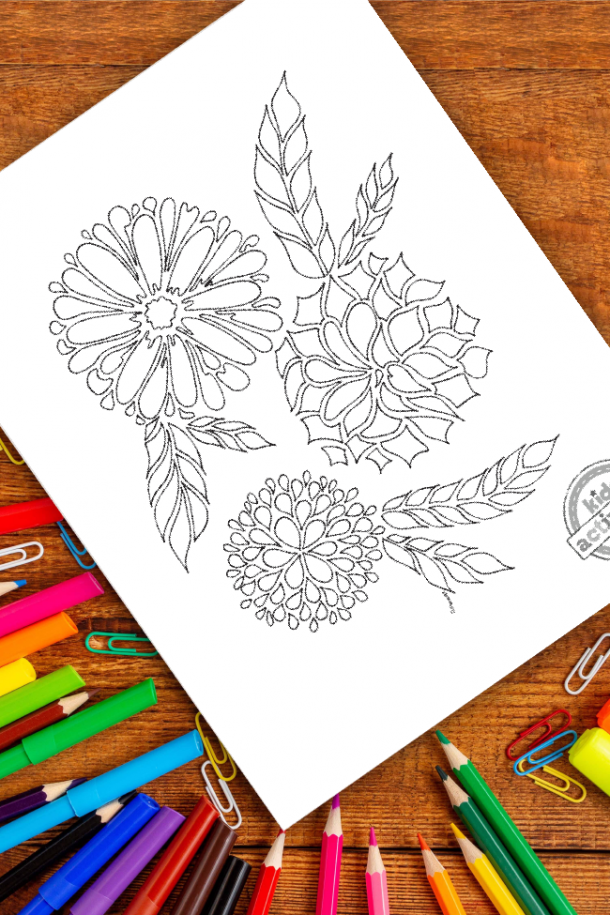 intricate 3 flowers zentangle pattern art ready to be colored with mixed art supplies and bright colors