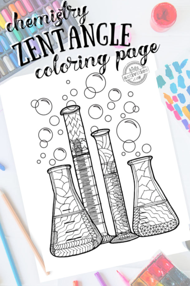 Science Zentangle Chemistry set design - coloring page with intricate pattern drawing with colored pencils