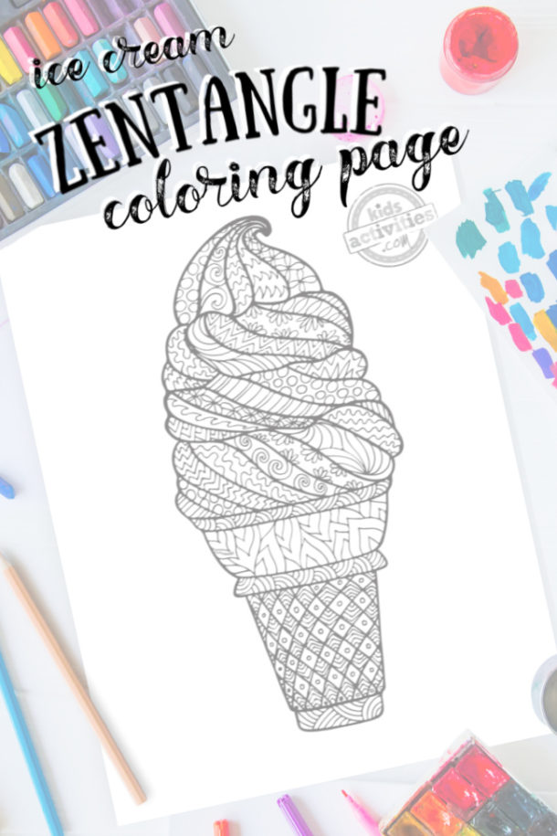intricate ice cream cone zentangle pattern art ready to be colored with mixed art supplies and bright colors with title