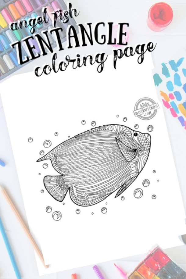 intricate angel fish zentangle pattern art ready to be colored with mixed art supplies and bright colors
