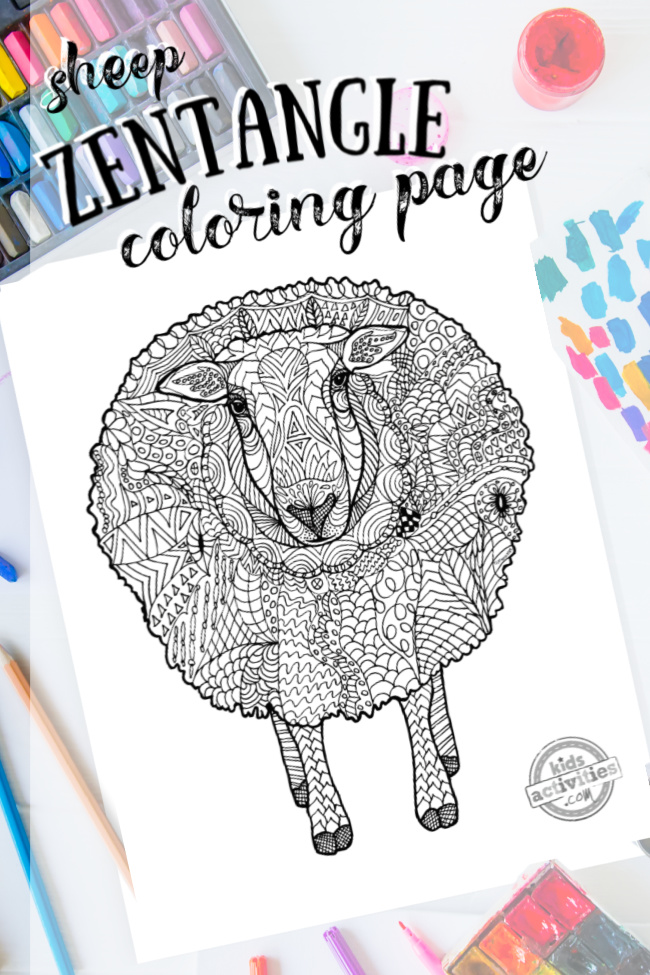 intricate sheep zentangle pattern art ready to be colored with mixed art supplies and bright colors