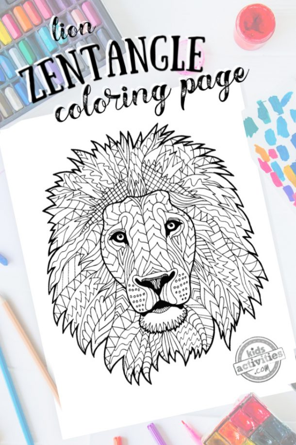 intricate lion zentangle pattern art ready to be colored with mixed art supplies and bright colors