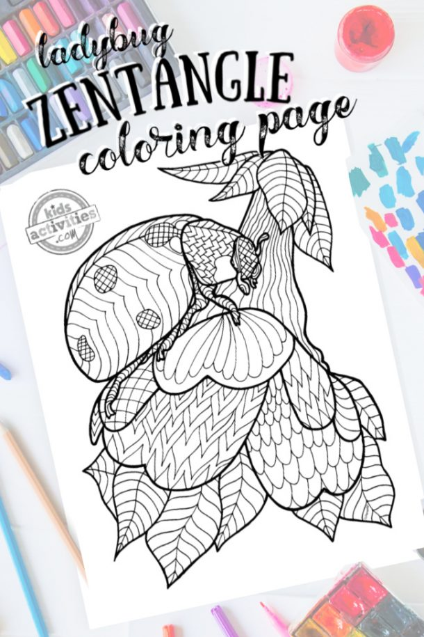 Zentangle Ladybug Pattern Printable Coloring Page