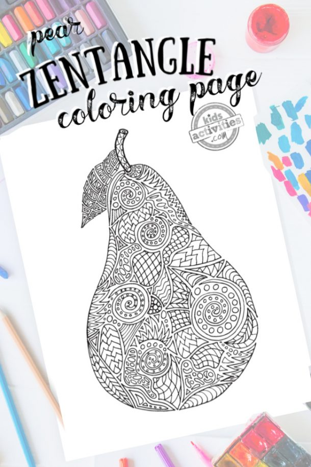 intricate pear zentangle pattern art ready to be colored with mixed art supplies and bright colors