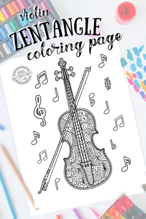 intricate zentangle violin pattern art ready to be colored with mixed art supplies and bright colors