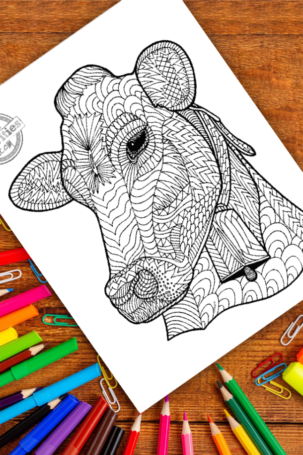 intricate cow zentangle pattern art ready to be colored with mixed art supplies and bright colors