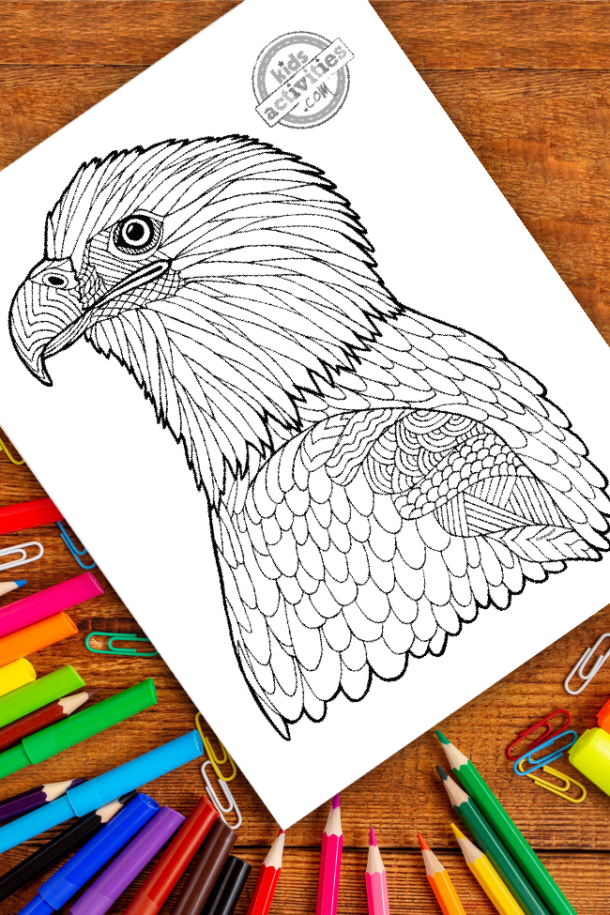 intricate eagle zentangle pattern art ready to be colored with mixed art supplies and bright colors
