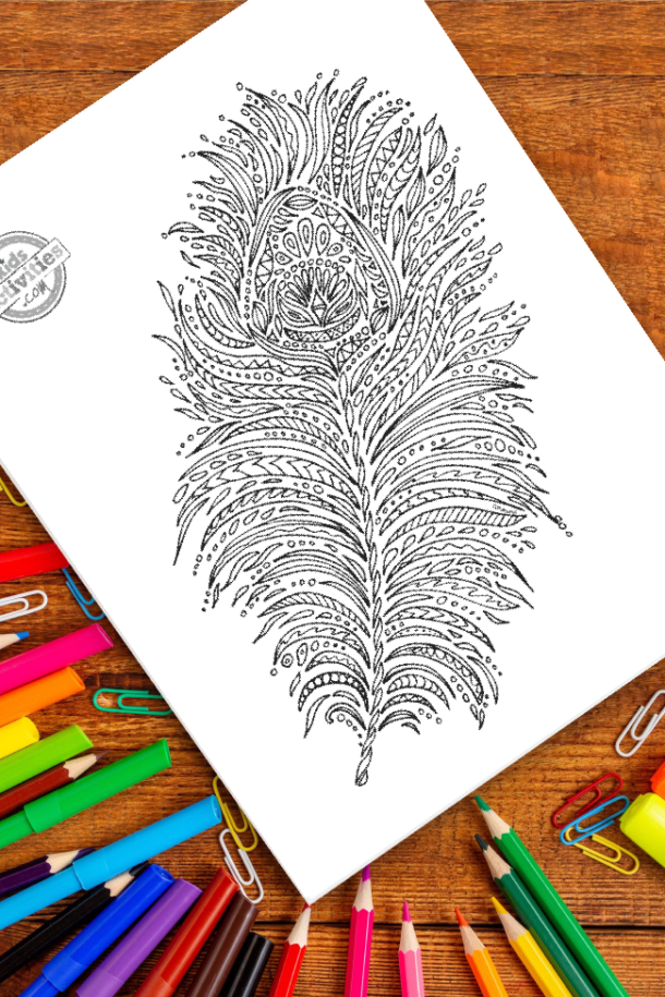 intricate peacock feather zentangle pattern art ready to be colored with mixed art supplies and bright colors