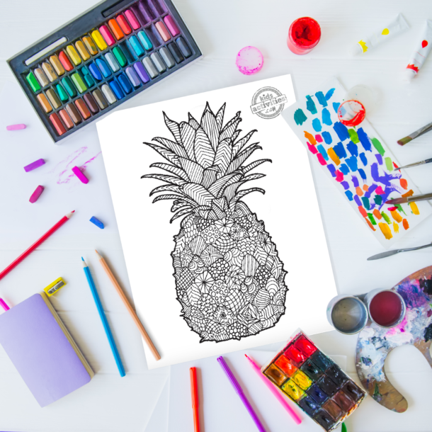 intricate pineapple zentangle pattern art ready to be colored with mixed art supplies and bright colors