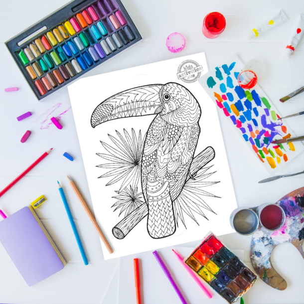 intricate toucan zentangle pattern art ready to be colored with mixed art supplies and bright colors