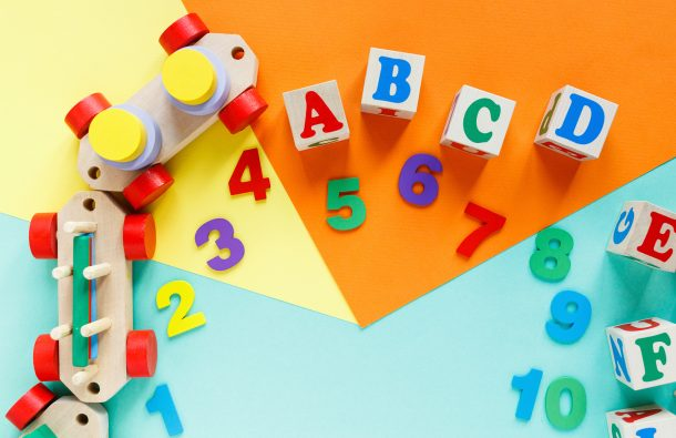 Letter Q - alphabet learning letter Q - number and letter blocks and toy train for hands on learning