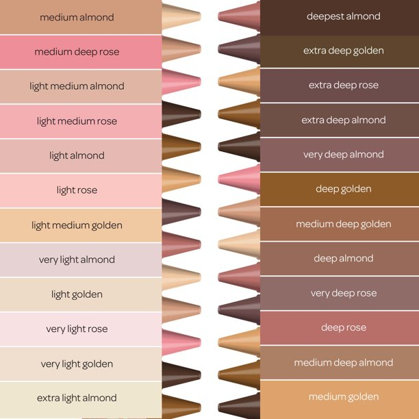 Shades of skin color show with the crayons with the names of each color.
