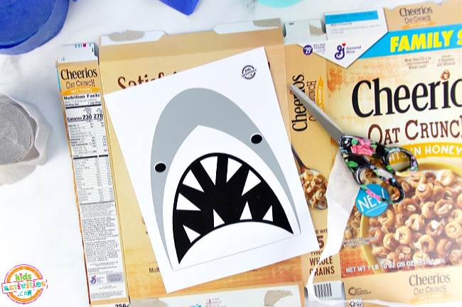 Cereal box with a printable shark