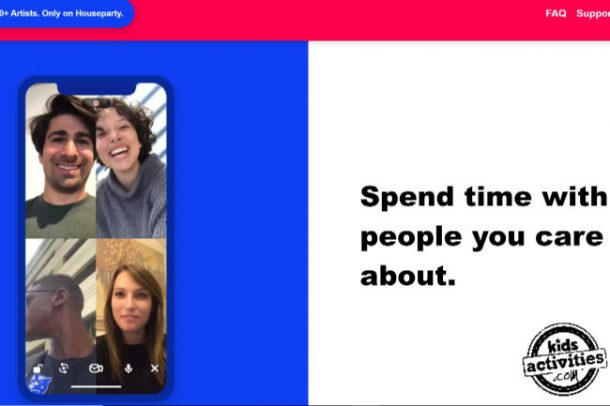 "A screenshot from Houseparty showing 4 friends on a phone and the text ""spend time with people you care about"""